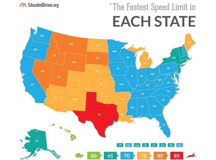 The Fastest Speed Limit in Each US State