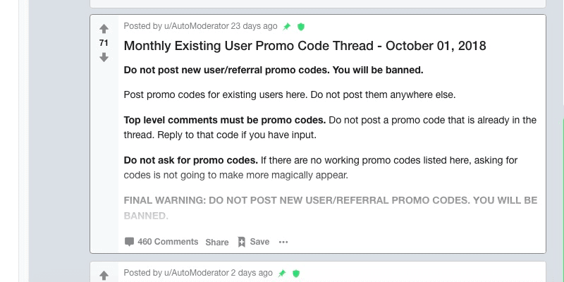 Postmates Promo Code for Existing Users: Reddit thread