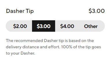 The options for adding a Dasher Tip in the DoorDash app